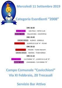 Programma gare Mercoledi 11 settembre cat-2008